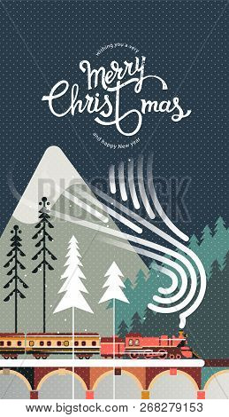 New Year And Christmas Snowy Winter Landscape With Coniferous Forest, Pines, Train And Hand Drawn Me