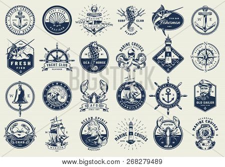 Vintage Nautical Labels Collection With Marine And Sea Elements In Monochrome Style Isolated Vector
