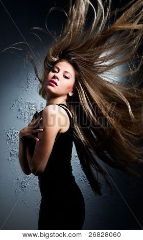Beautiful girl with great fly-away hair