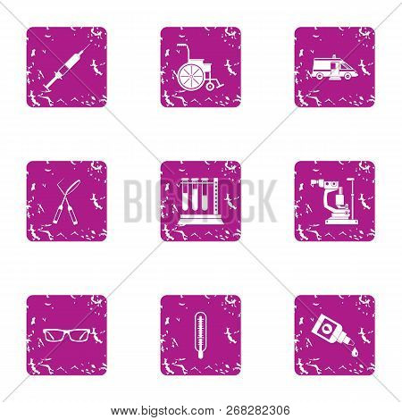 Inquiry Icons Set. Grunge Set Of 9 Inquiry Vector Icons For Web Isolated On White Background