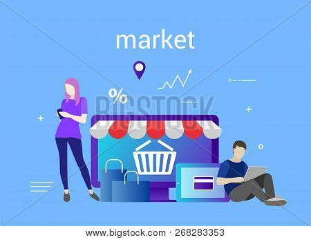 Flat Design Banner Of E-commerce And E-shopping For Website And Mobile Website. Market. Easy To Use