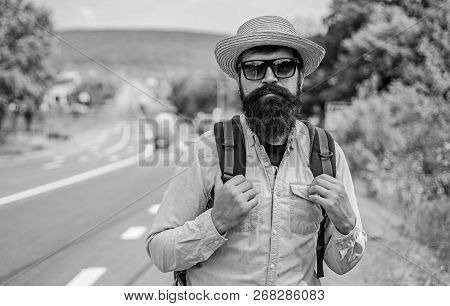Look For Fellow Travelers. Tips Of Experienced Backpacker. Man Bearded Hipster Backpacker At Edge Of