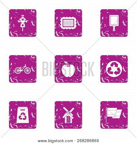 Heartland Icons Set. Grunge Set Of 9 Heartland Vector Icons For Web Isolated On White Background