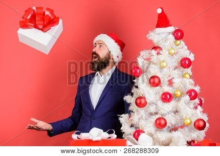 Send Or Receive Christmas Present. Man Bearded Hipster Formal Suit Happy Celebrate Christmas. Quick