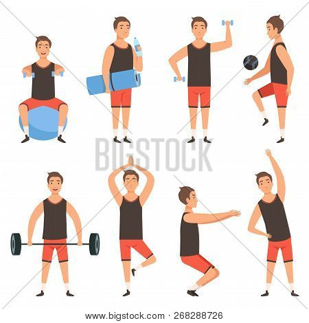 Athletic Sport Man. Gym Male Fitness Character Standing In Action Poses Workout Training Vector Masc