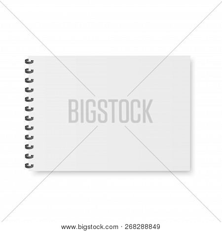 Mock Up Of Organizer Or Diary Isolated. A4. Blank Notebook, Copybook, Menu With Metallic Spiral. Eps