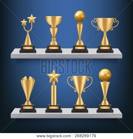 Awards Shelves. Trophies Medals And Cups On Bookshelf Vector Realistic Concept Of Sport Competition