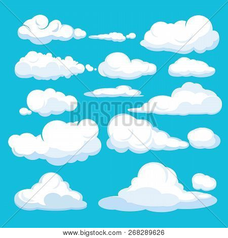 Cartoon Clouds. Blue Sky Aerial Cloudscape Blue Clouds Different Forms And Shapes Vector Illustratio