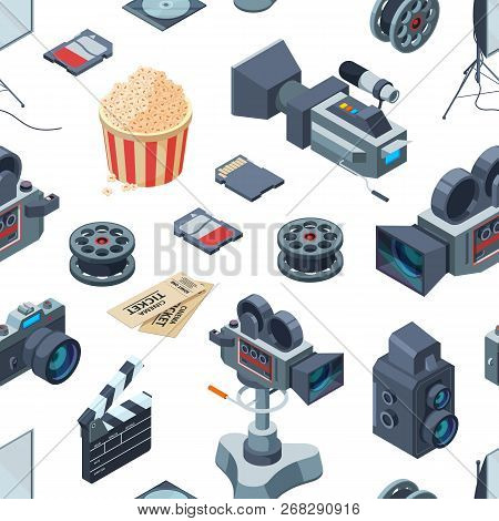 Vector Cinematograph Isometric Elements Pattern Or Background Illustration. Seamless Pattern Cinema,