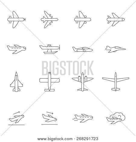 Airplane Outline Icons. Airline Passenger Aircraft Symbols Travelling Vector Monoline Pictures Isola