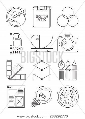 Creative Process Icons. Sketch Design Branding Blogging Graphic Creative Symbols Of Artists Peoples