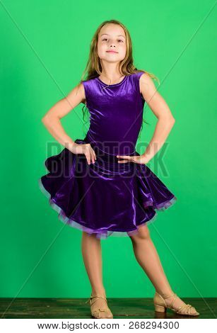 Ballroom Dancewear Fashion Concept. Kid Dancer Satisfied With Concert Outfit. Kids Fashion. Kid Fash
