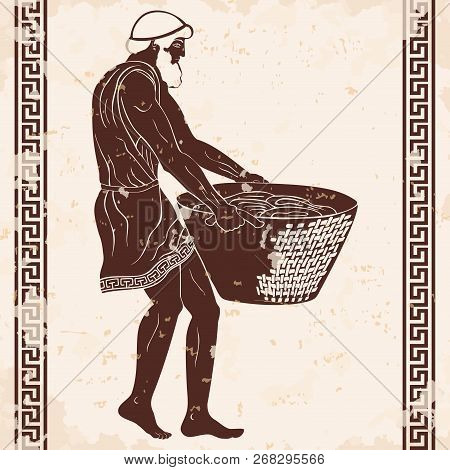 Ancient Greek Man Slave With A Heavy Basket In His Hands. Figure On A Beige Background With The Agin