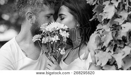 Man Bearded Hipster Kisses Girlfriend. Secret Romantic Kiss. Love Romantic Feelings. Moment Of Intim