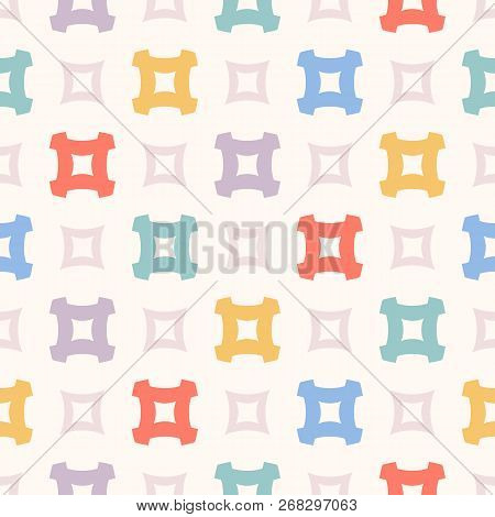 Cute Vector Seamless Pattern. Funky Geometric Texture With Colorful Squares, Crosses On White Backgr