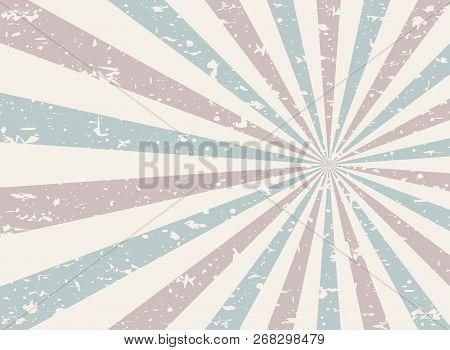 Sunlight Retro Faded Grunge Background. Pink And Blue Color Burst Background. Vector Illustration. S
