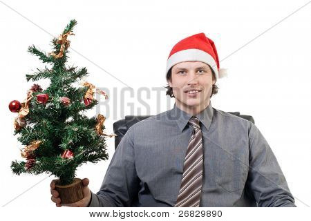 Smiling businessman in a Santa's hat holding a small Christmas tree in his hand