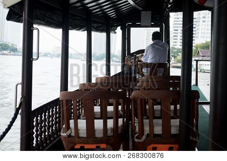 Traditional Thai Boat On The Chao Phraya River, Thailand