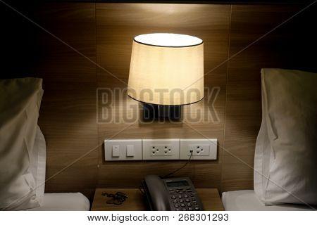 Bed Lamp In Bedroom In Luxury Hotel