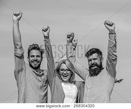 Company Reached Top. Men With Beard In Formal Shirts And Blonde In Eyeglasses As Successful Team. Su