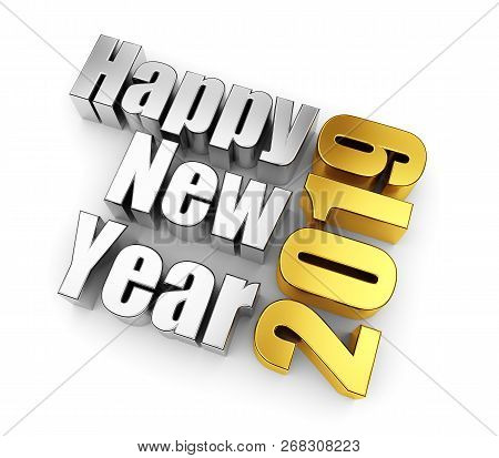 Metal Gold And Silver Text, 2019 Happy New Year Concept