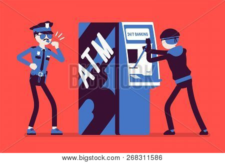 Atm Hacking Crime. Automated Teller Machine Under A Threat, Attack By A Criminal, Masked Man, Police