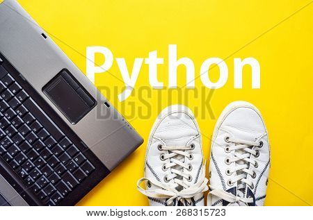 Man Legs In Shoes Standing Next To Laptop And Word Python, Programming Language