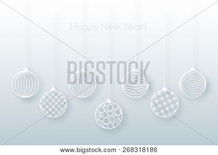 Christmas Background White Ball Toy On A Blue Background Festive Background For Christmas And New Ye