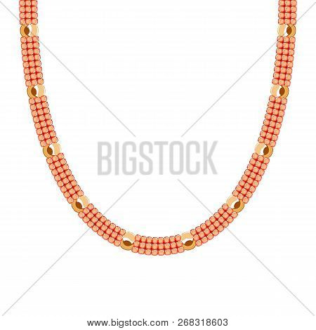 Chunky Chain Necklace Or Bracelet With Seed Beads And Golden Beads.