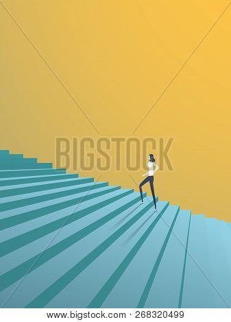 Buisnesswoman Climbing Career Steps Vector Concept. Symbol Of Ambition, Motivation, Success In Caree