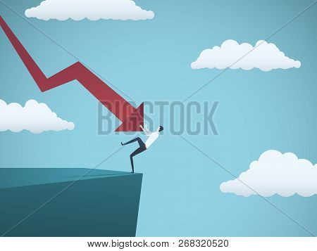 Bankrupt Businessman Falling Off A Cliff, Pushed By Downward Arrow. Symbol Of Bankruptcy, Failure, R