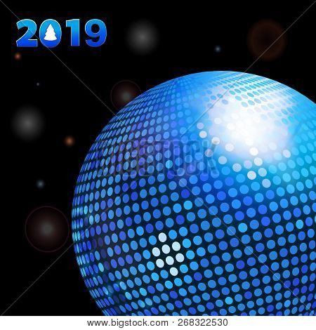 3d Illustration Of Glowing Black Background With Decorative 2019 New Years And Blue Disco Ball