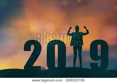 Celebrating New Year 2019 Silhouette Freedom Young Hope Business Man Standing And Enjoying On The Th