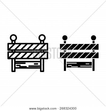 Roadblock Line And Glyph Icon. Barrier Vector Illustration Isolated On White. Boundary Outline Style