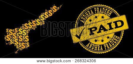 Golden Composition Of Dollar Mosaic Map Of Andhra Pradesh State And Paid Grunge Seal Stamp. Vector S
