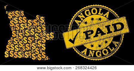 Golden Composition Of Dollar Mosaic Map Of Angola And Paid Textured Seal Stamp. Vector Seal With Cor