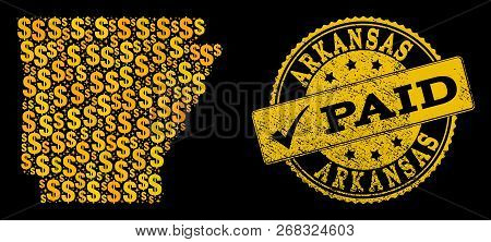 Golden Combination Of Dollar Mosaic Map Of Arkansas State And Paid Unclean Seal Stamp. Vector Seal W