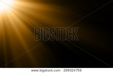 Light Ray Or Sun Beam Vector Background. Abstract Gold Light Sparkle Flash Spotlight Backdrop With G