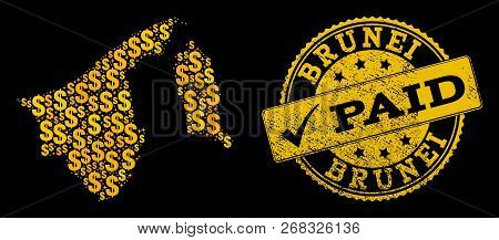 Golden Collage Of Dollar Mosaic Map Of Brunei And Paid Scratched Stamp. Vector Seal With Scratched R