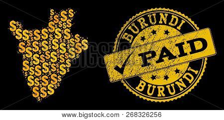 Golden Composition Of Dollar Mosaic Map Of Burundi And Paid Grunge Seal. Vector Imprint With Grunge