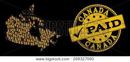 Golden Composition Of Dollar Mosaic Map Of Canada And Paid Unclean Seal Stamp. Vector Seal With Uncl