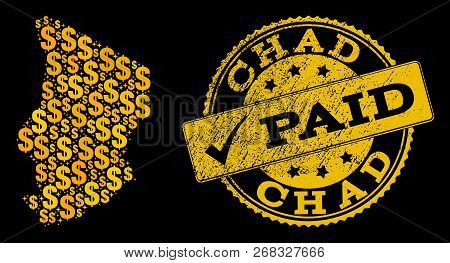 Golden Combination Of Dollar Mosaic Map Of Chad And Paid Rubber Seal. Vector Watermark With Distress