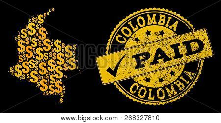 Golden Collage Of Dollar Mosaic Map Of Colombia And Paid Grunge Seal Stamp. Vector Seal With Grunge