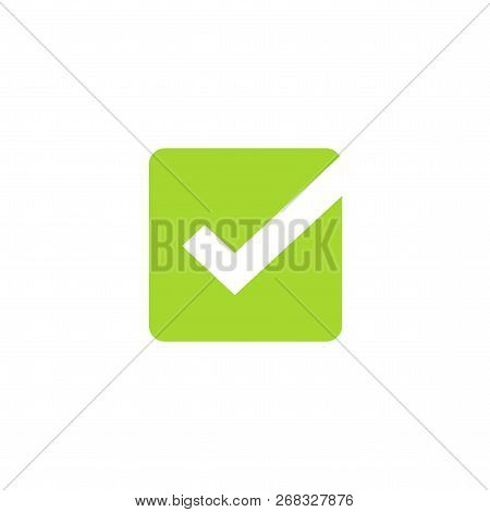 Tick Icon Vector Symbol, Green Square Checkmark Isolated On White Background, Checked Icon Or Correc