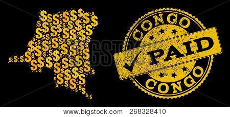 Golden Combination Of Dollar Mosaic Map Of Democratic Republic Of The Congo And Paid Corroded Stamp.