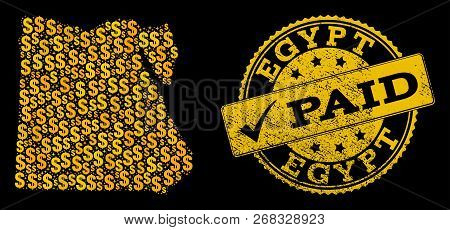 Golden Collage Of Dollar Mosaic Map Of Egypt And Paid Textured Seal Stamp. Vector Seal With Scratche