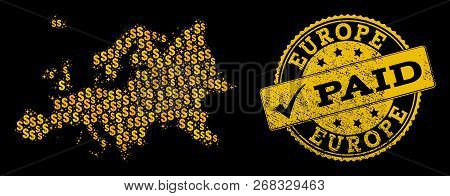 Golden Collage Of Dollar Mosaic Map Of Europe And Paid Rubber Seal Stamp. Vector Seal With Unclean R