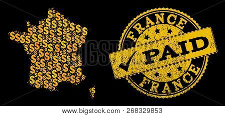 Golden Composition Of Dollar Mosaic Map Of France And Paid Grunge Seal Stamp. Vector Watermark With