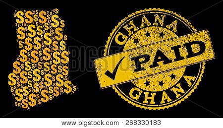 Golden Composition Of Dollar Mosaic Map Of Ghana And Paid Scratched Seal Stamp. Vector Seal With Scr