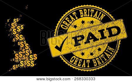 Golden Composition Of Dollar Mosaic Map Of Great Britain And Paid Rubber Stamp. Vector Watermark Wit